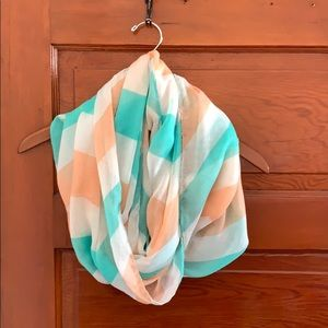 Teal and peach infinity scarf